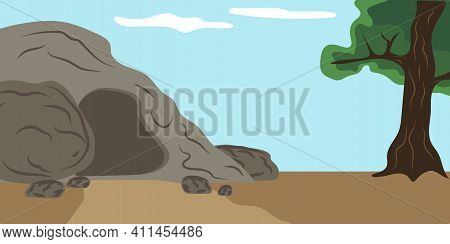 Cartoon Illustration With Tomb Of Christ. Holiday Concept. Celebration Vector Background. Stock Imag