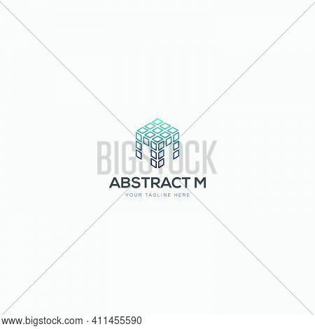 Abstract Initial M And Box Logo Design