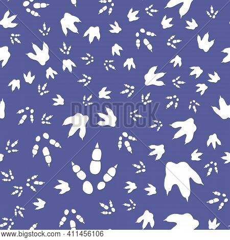Dinosaur Footprint Tracks. Minimal Color Seamless Pattern. Background With Paw, Claw Predator. Dinos