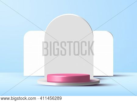 3d Minimal Scene Cylinder Podium In Soft Blue Background With Rounded Rectangle Backdrop. Display Sh