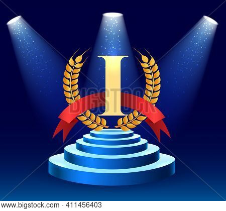 Business Contest Champion Stage. Winner Abstract Background With First Place Platform Vector Illustr