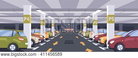 Panoramic View Of Urban Underground Car Park Full Of Parked Autos. Basement Garage Interior With Mar