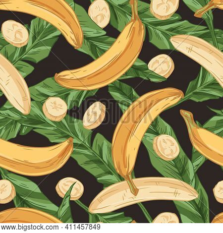 Tropical Seamless Pattern With Fresh Banana Fruits And Green Leaves. Endless Repeatable Fruity Desig