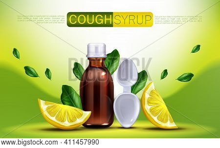 Cough Syrup With Lemon Flavour Banner Mock Up. Brown Glass Blank Bottle And Spoon With Citrus Slices