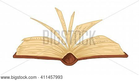 Open Ancient Book With Old Pages Isolated On White Background. Antique Bible, Textbook Or Encycloped