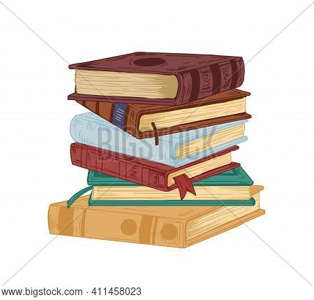 Vertical Stack Of Old Historical Books In Hardbacks With Bookmarks Isolated On White Background. Pil