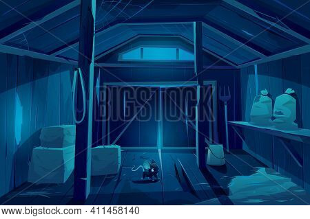 Mouse In Farm Barn House At Night. Fieldmouse Rodent In Dark Wooden Ranch Interior With Haystacks, S