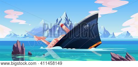 Shipwreck Accident, Ship Run Aground Sinking In Ocean, Vessel Going Under Water Surface On Seascape