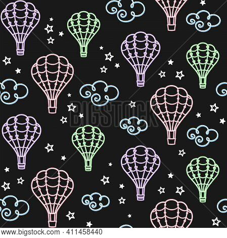 Aerostat In The Sky. Colorful Hot Air Balloons, Clouds And Stars On A Black. Vector Seamless Pattern