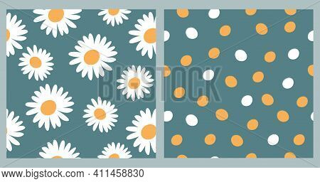 Set Of Abstract Floral Seamless Patterns With Cute Chamomile On A Blue Pastel Background And Yellow
