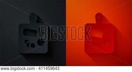 Paper Cut Cutting Board Icon Isolated On Black And Red Background. Chopping Board Symbol. Paper Art