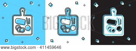Set Cutting Board Icon Isolated On Blue And White, Black Background. Chopping Board Symbol. Vector