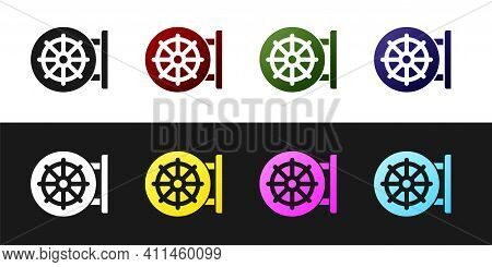 Set Dharma Wheel Icon Isolated On Black And White Background. Buddhism Religion Sign. Dharmachakra S