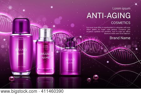 Anti Aging Cosmetics Line Bottles Mock Up Banner With Dna Structure, Repair Beauty Skin Care Cosmeti
