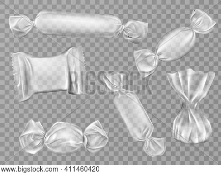 Transparent Candy Wrappers Set Isolated On Limpid Background. Blank Package For Lollipops, Chocolate