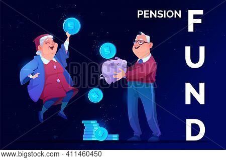 Pension Fund Savings. Elderly Man With Money Piggy Bank And Old Woman Holding Huge Coin In Hand Rejo