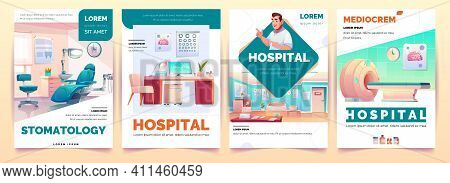 Hospital Banners Set. Stomatology And Therapeutic Office, Magnetic Resonance Imaging Service And Med