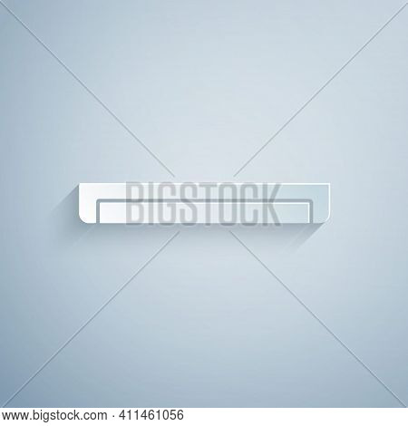 Paper Cut Long Luminescence Fluorescent Energy Saving Lamp Icon Isolated On Grey Background. Paper A