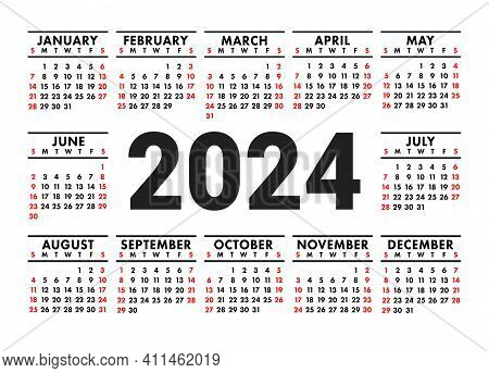 Calendar 2024. English Vector Horizontal Wall Or Pocket Calender Template. Black And Red Design. New