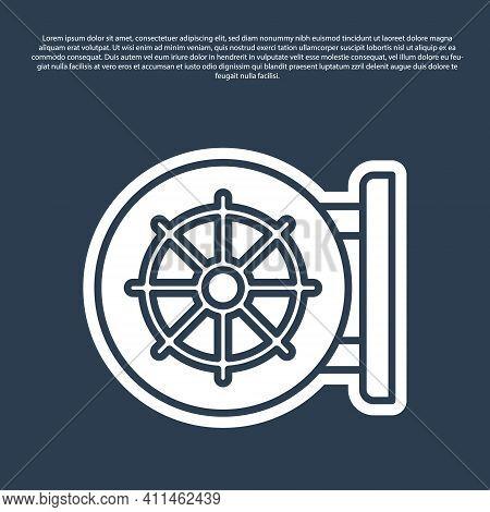 Blue Line Dharma Wheel Icon Isolated On Blue Background. Buddhism Religion Sign. Dharmachakra Symbol