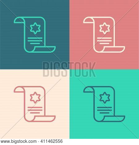 Pop Art Line Torah Scroll Icon Isolated On Color Background. Jewish Torah In Expanded Form. Star Of