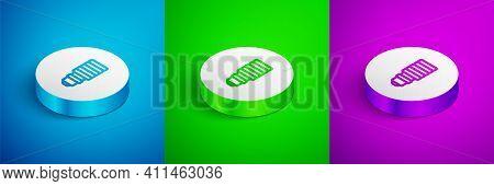 Isometric Line Led Light Bulb Icon Isolated On Blue, Green And Purple Background. Economical Led Ill