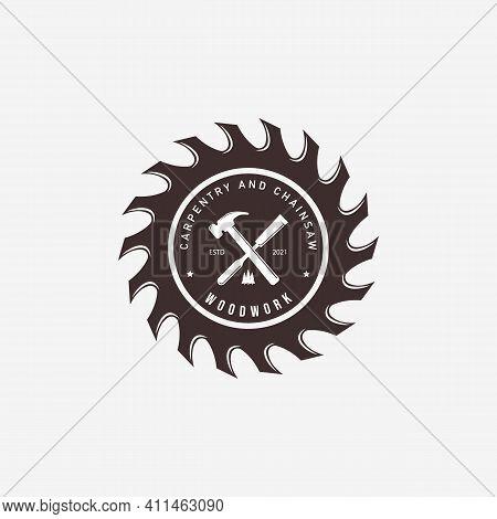 Carpentry With Wood Chisel Logo Vector Vintage, Illustration Design Of Hammer, Wood Saws Concept For
