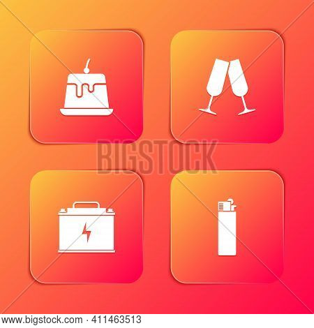 Set Pudding Custard, Glasses Of Champagne, Car Battery And Lighter Icon. Vector