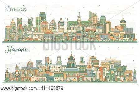 Havana Cuba and Brussels Belgium City Skyline Set with Color Buildings.