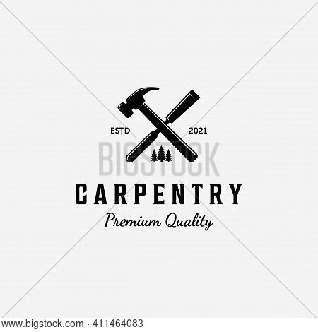 Design Of Carpentry Logo Vector, Handcraft Concept With Hammer And Chisel, Vintage Illustration Of W