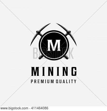 Sign M Of Mining Vintage Logo Vector, Design Of Illustration Creative Pickaxe, Digger And Carpentry
