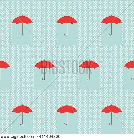 Seamless Background With Raindrops And Red Umbrellas On Blue Sky. Overcast Pattern. Vector Illustrat