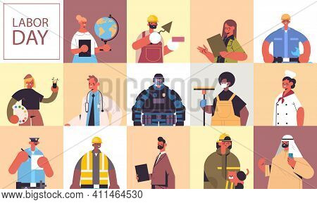 Set People Of Different Occupations Celebrating Labor Day Mix Race Men Women Portraits Collection Ho