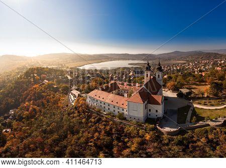 Tihany landscape with the abbey, lake Balaton, Hungary summer.