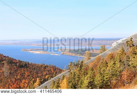 Calm fall season. Beautiful aerial view with Strelnaya mount and Volga river, Samarskaya Luka, Zhiguli mountains, Russia