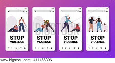 Set Angry Husband Punching And Hitting Wife Stop Domestic Violence And Aggression Smartphone Screens