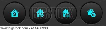 Set House With Dollar, Check Mark, Rising Cost Of Housing And Icon. Vector
