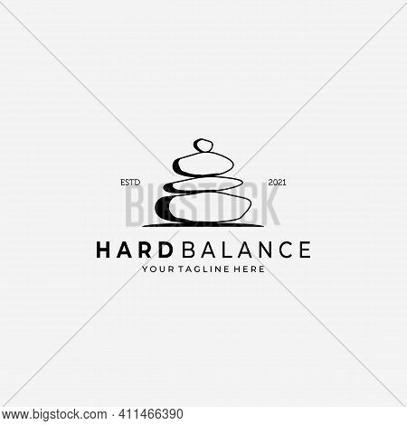 Hard Balance Stone Logo Vector Design Illustration Vintage, Line Art Stone, Simple Logo Spa, Healthy