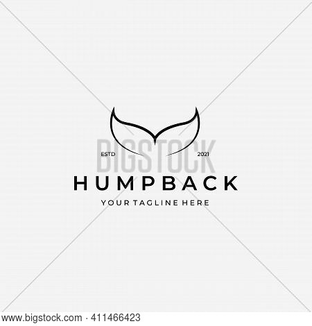 Minimalist Line Art Of Whale Tail Logo Vector, Design And Illustration Of Humpback Whale, Under Wate