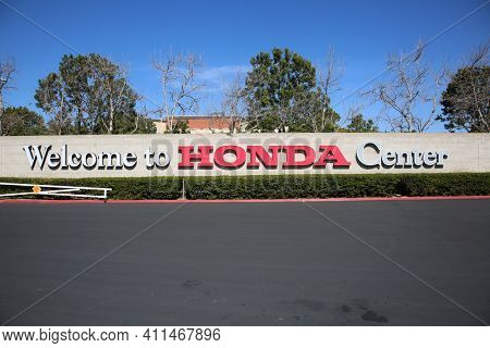 ANAHEIM, California -USA - March 6, 2021: Honda Center Sign. The Honda Center is an indoor arena and home of the Anaheim Mighty Ducks of the National Hockey League.
