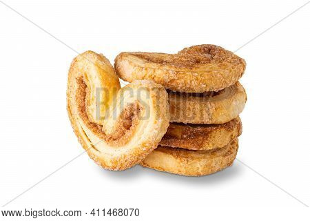Puff Crunchy Cookies With Sugar And Cinnamon Isolated On White Background
