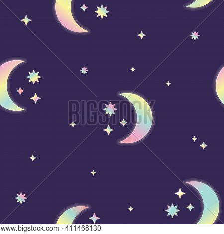 Vector Fluorescent Crescent Moon And Stars On Night Sky Seamless Pattern Background. Perfect For Fab