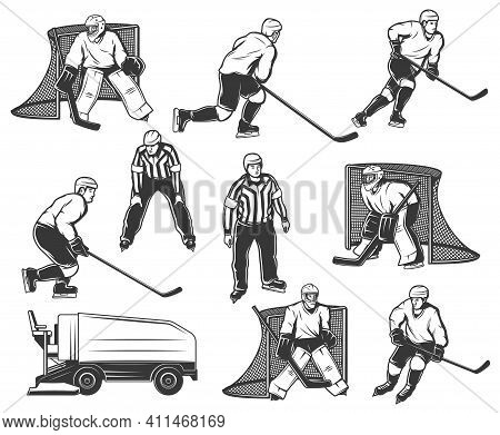 Ice Hockey Player, Goaltender And Referee Characters Set. Ice Hockey Players Skating With Stick, Goa