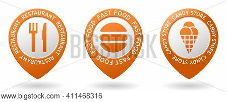 Set Of Vector Orange Map Pointers With Fastfood And Restaurant And Icecream Icon