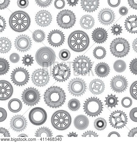 Machine Metal Gearwheels Seamless Pattern. Background With Industrial Machinery, Car Engine And Bicy