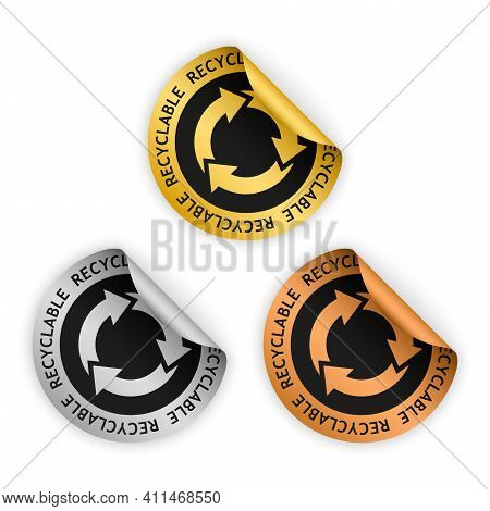 Set Of Vector Gold Silver Bronze Bent Sticker With Symbol Of Recyclable Material