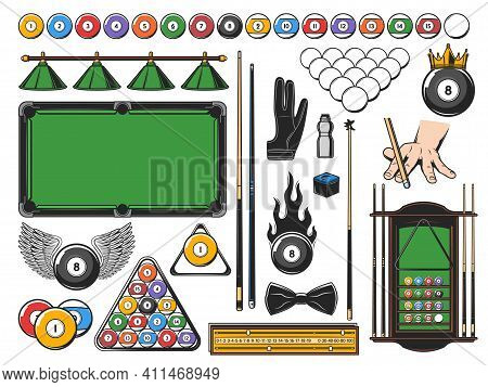 Pool Snooker And Billiards Game Equipment Icons And Player Items, Vector. Billiards Poolroom Or Snoo