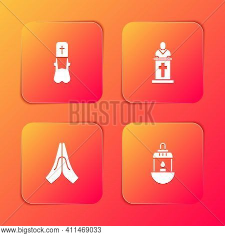 Set Priest, Church Pastor Preaching, Hands Praying Position And Ramadan Kareem Lantern Icon. Vector