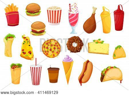 Fast Food Icons Of Burger, Pizza, Vector Meals, Drinks And Snacks. Fast Food Cafe Flat Icons Of Pota