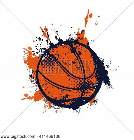 Basketball Ball With Grunge Spots Vector Icon, Sports Accessory Isolated On White Background. Equipm